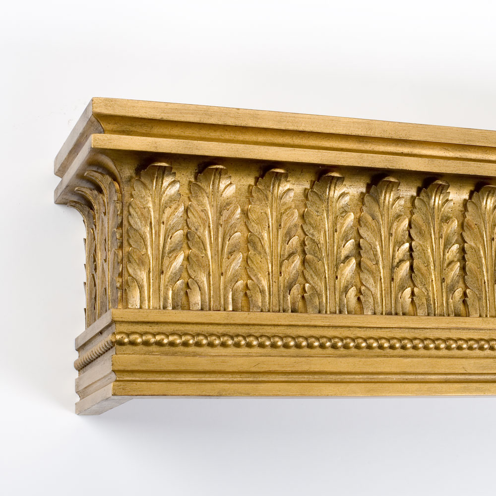 Acanthus Leaf pelmet, distressed gilt on red
