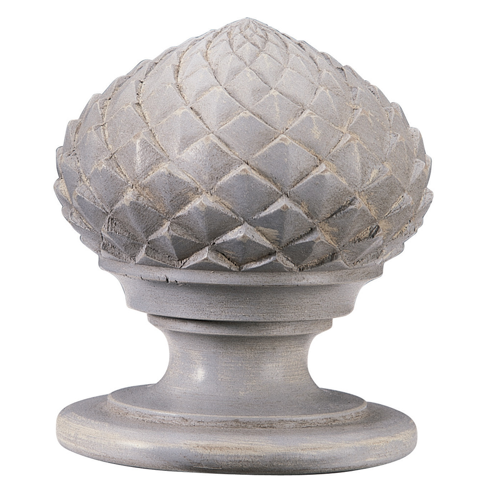 Artichoke finial, distressed grey