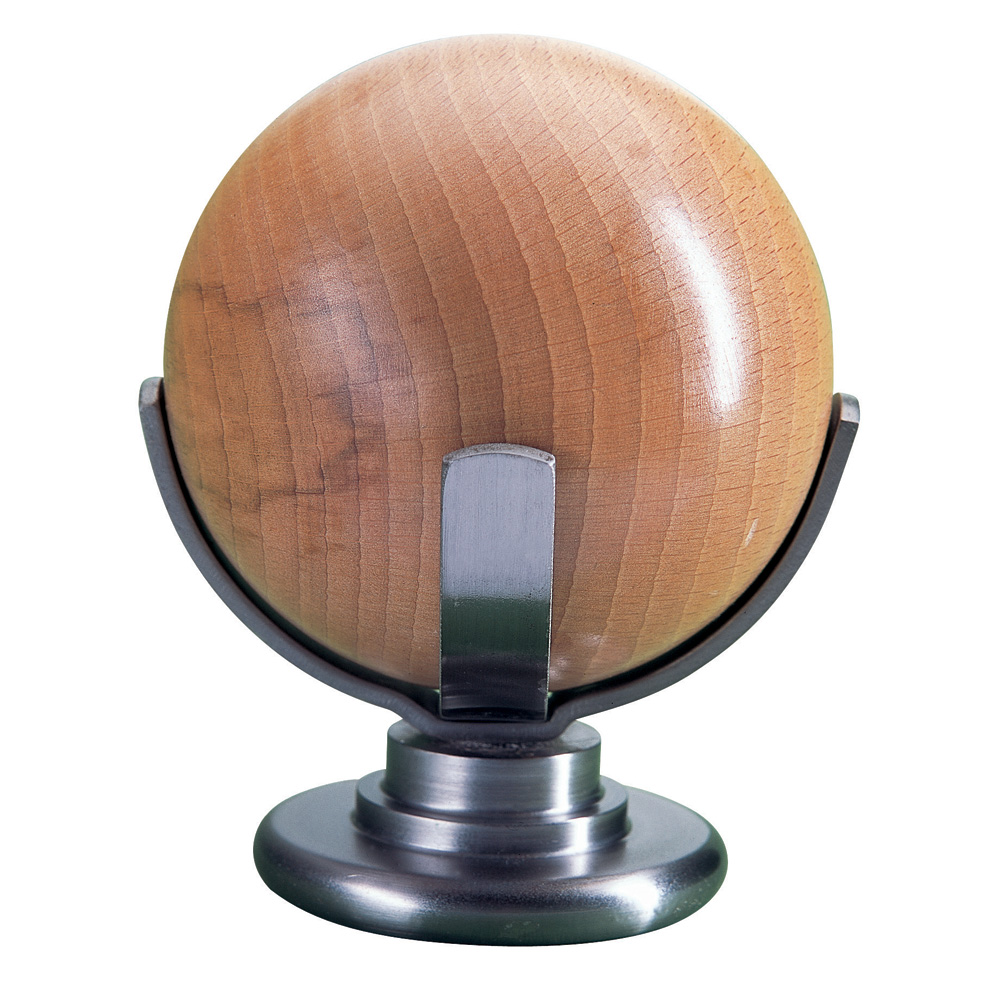 Atlas finial, beech and brushed steel