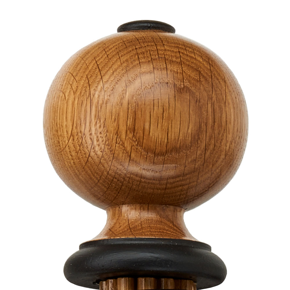 Ballon finial, oak and black