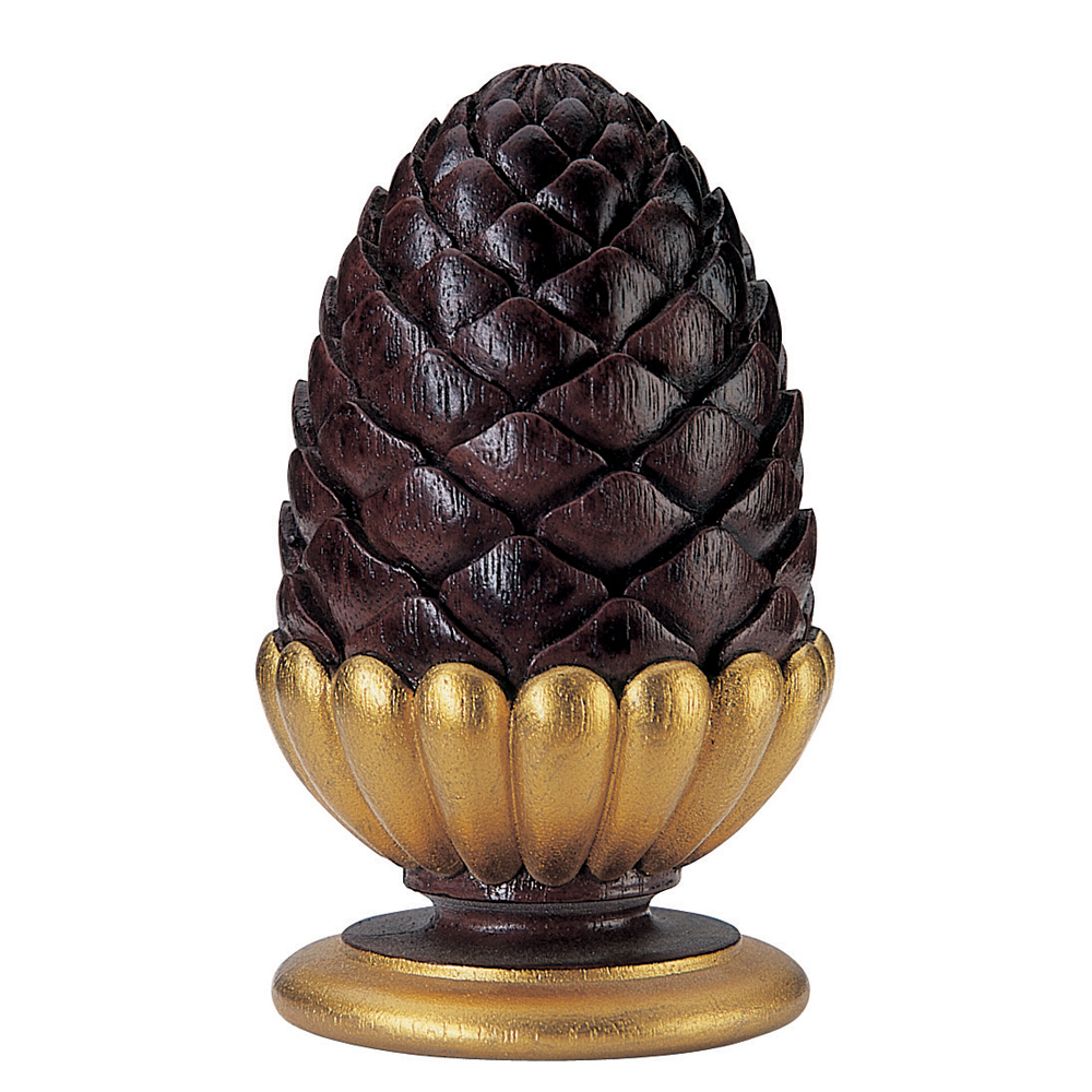 Cone and Gadroon finial, mahogany finish and gilt