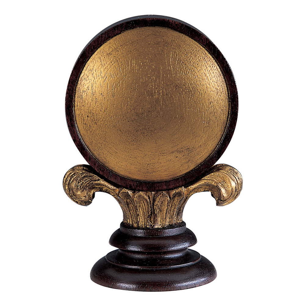 Convex finial, mahogany and gilt antiqued