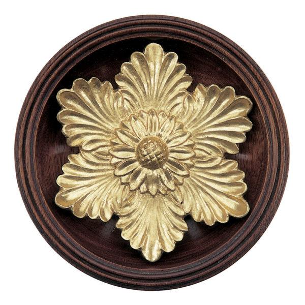 Flower Head with base tieback, mahogany and Dutch Metal leaf