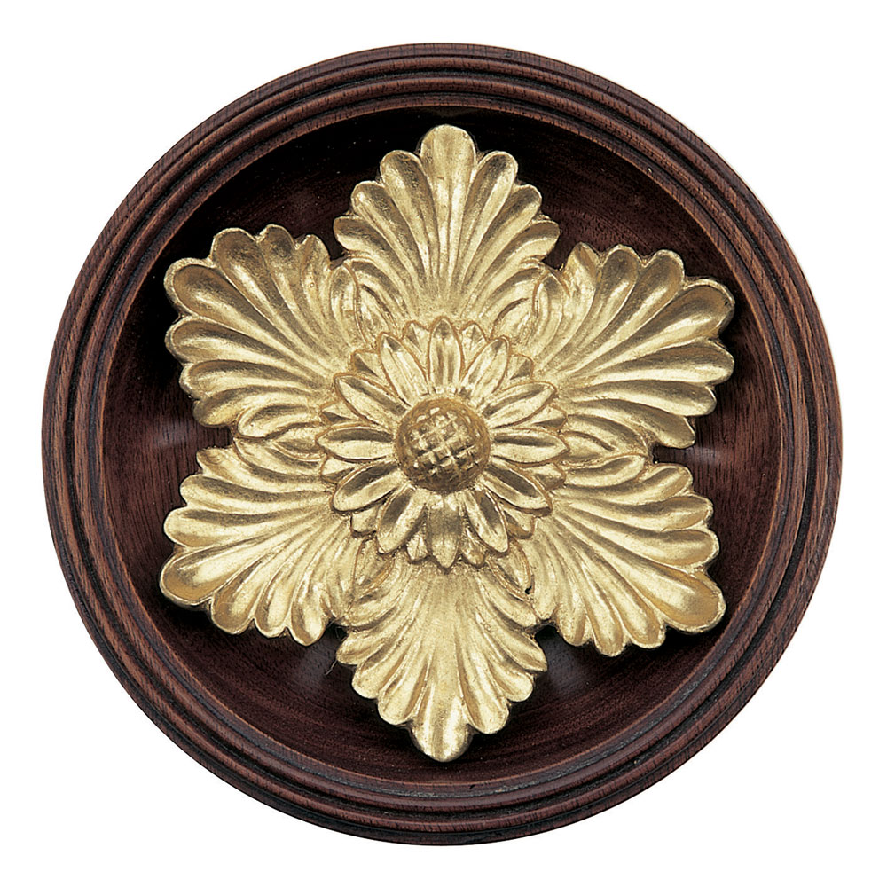 Flower Head with base tieback, mahogany and Dutch Metal leaf