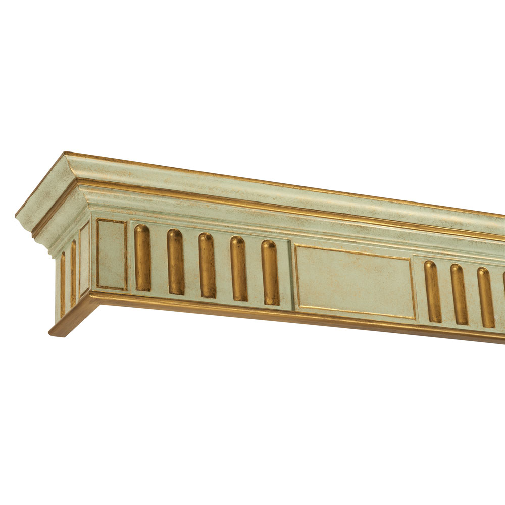 Fluted pelmet, gilt on green distressed