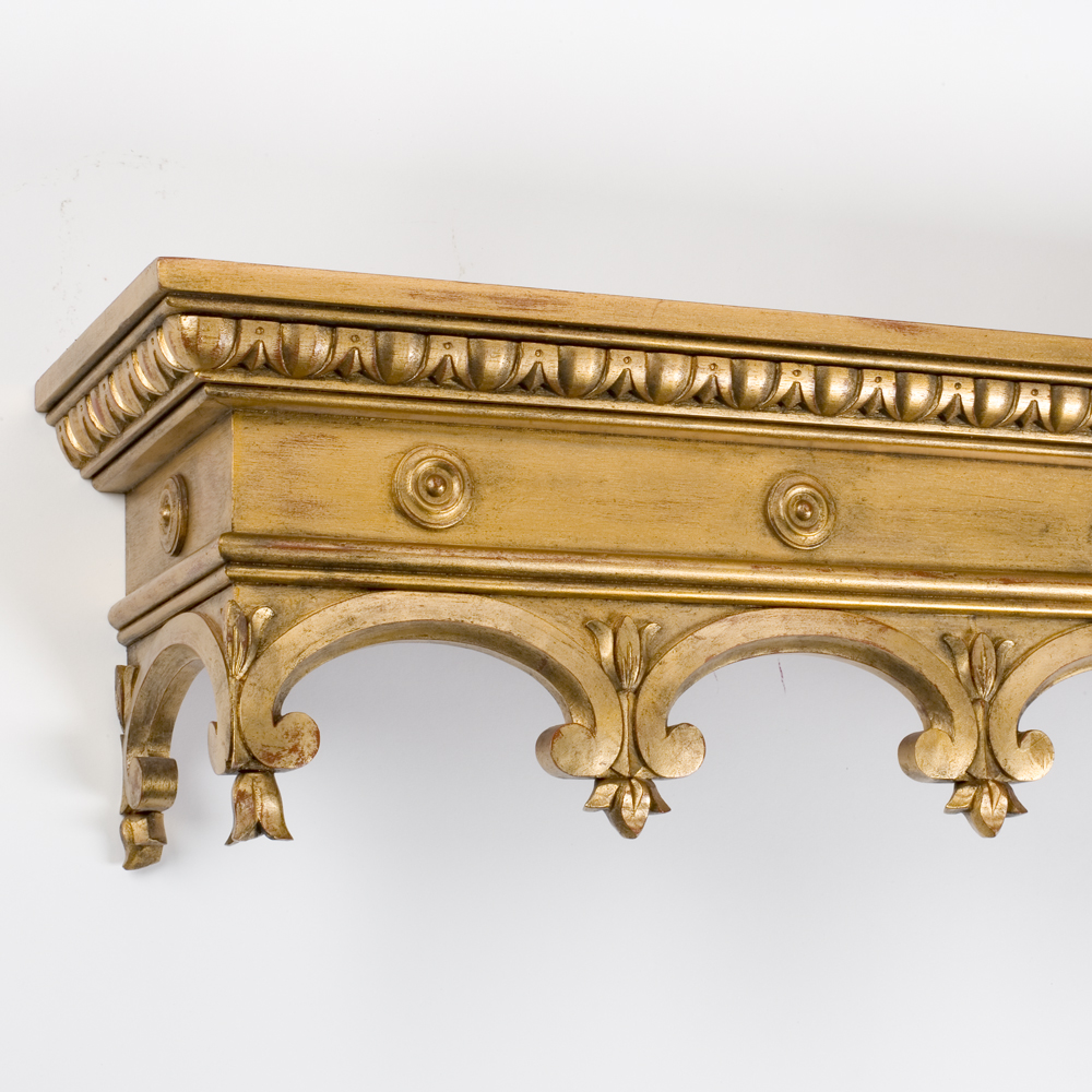 Gothic pelmet, distressed gilt on red