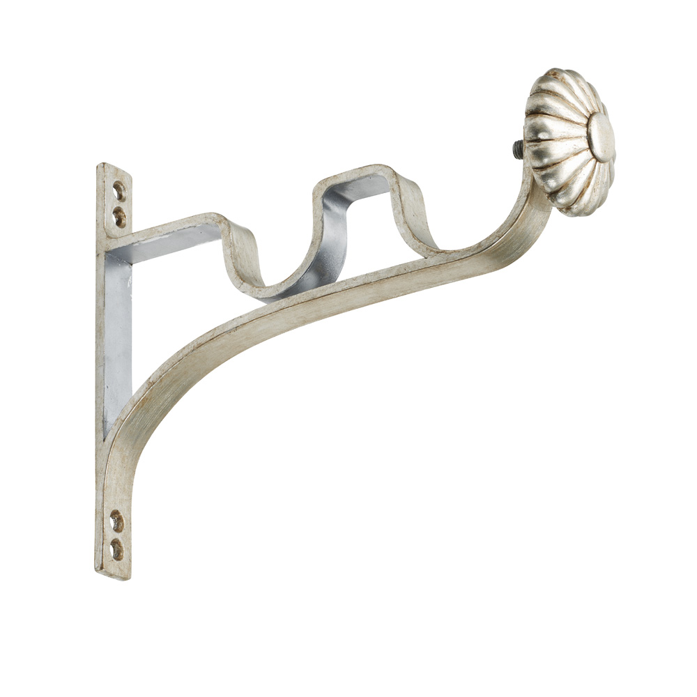 Painted steel curtain pole double end bracket