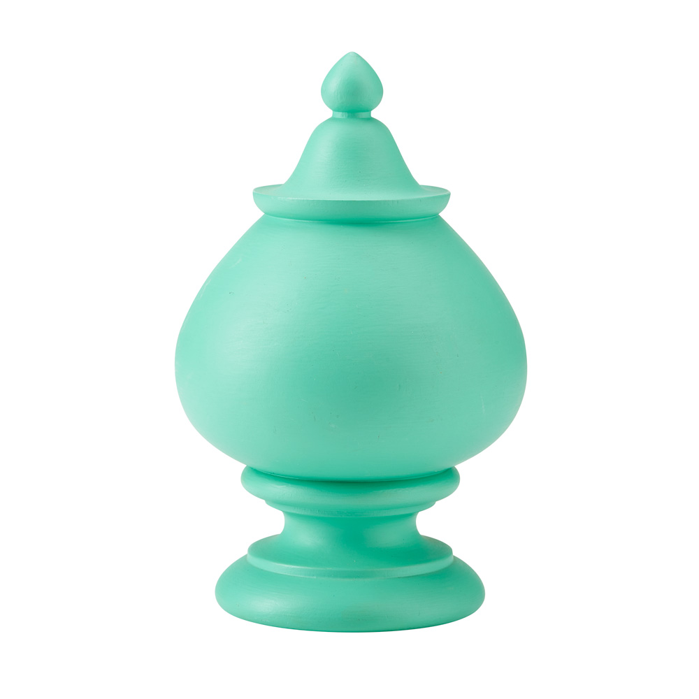 Jewel uncarved finial, green verditer
