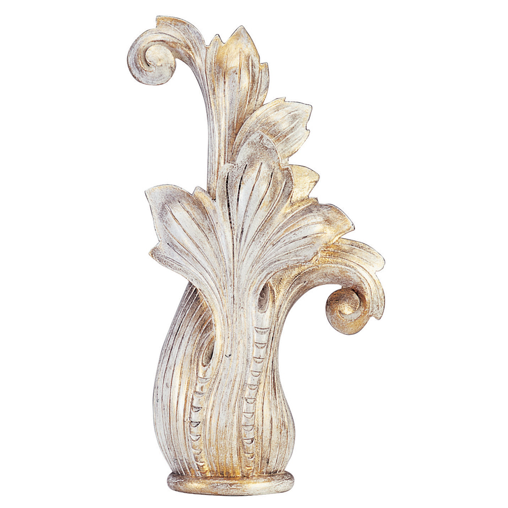 Lily finial, white distressed
