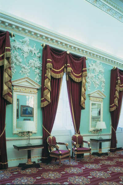 Mansion House – Mahogany curtain poles with Leaf and Gadroon finials