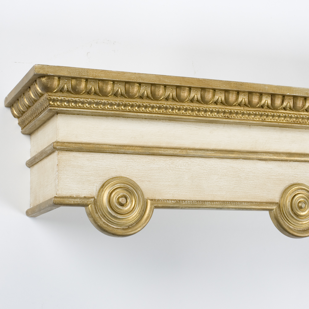 double Meridian pelmet, distressed cream and old gold