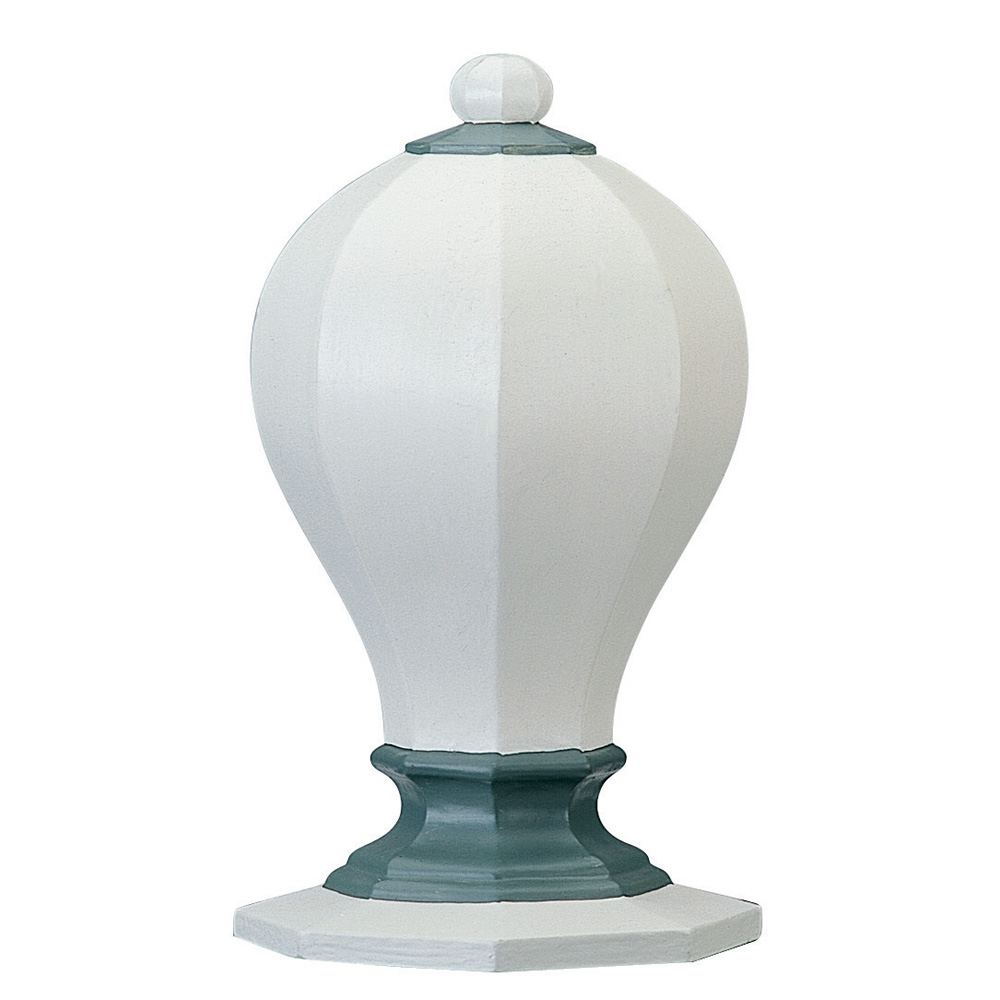 Octagon finial, painted blue and white