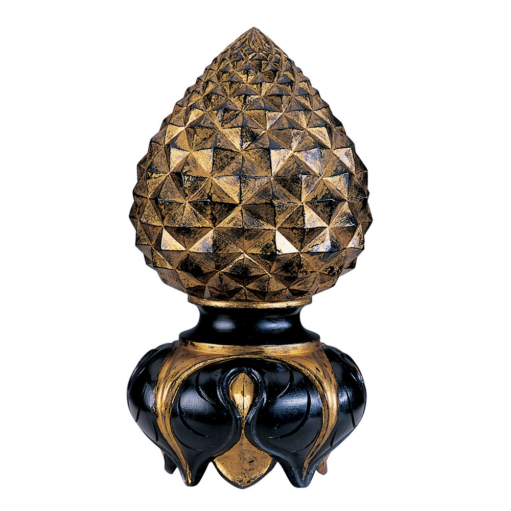 Pineapple and Inverted Leaf finial, black and distressed gilt