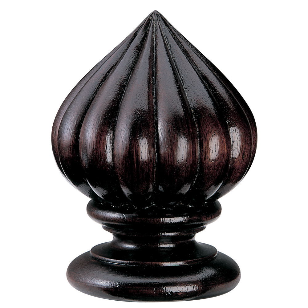 Pointed Gadroon finial, mahogany