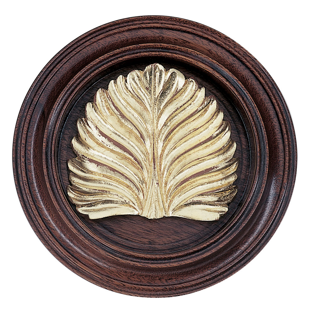 Sheraton Leaf tieback, mahogany and Dutch Metal leaf