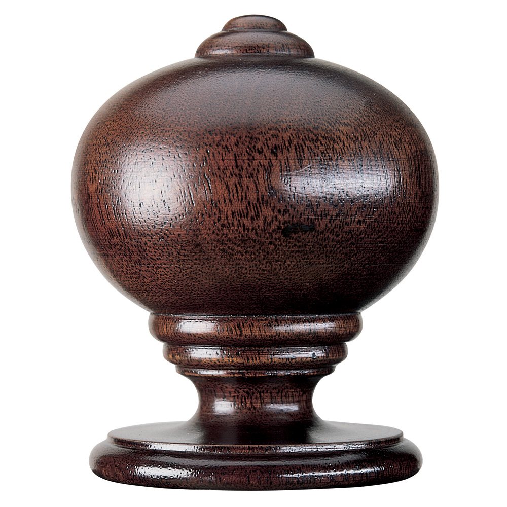 Simple Ball and Button finial, mahogany