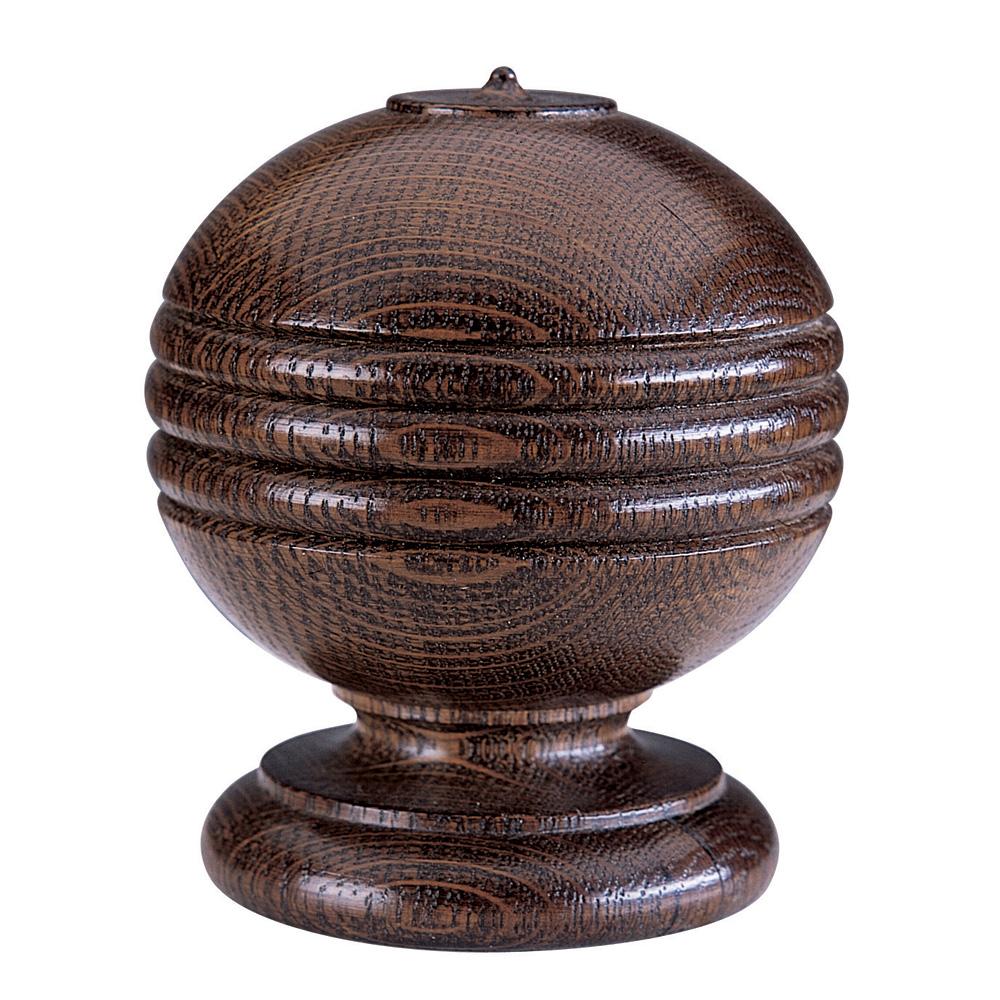Simple Ball and Rib finial, medium oak