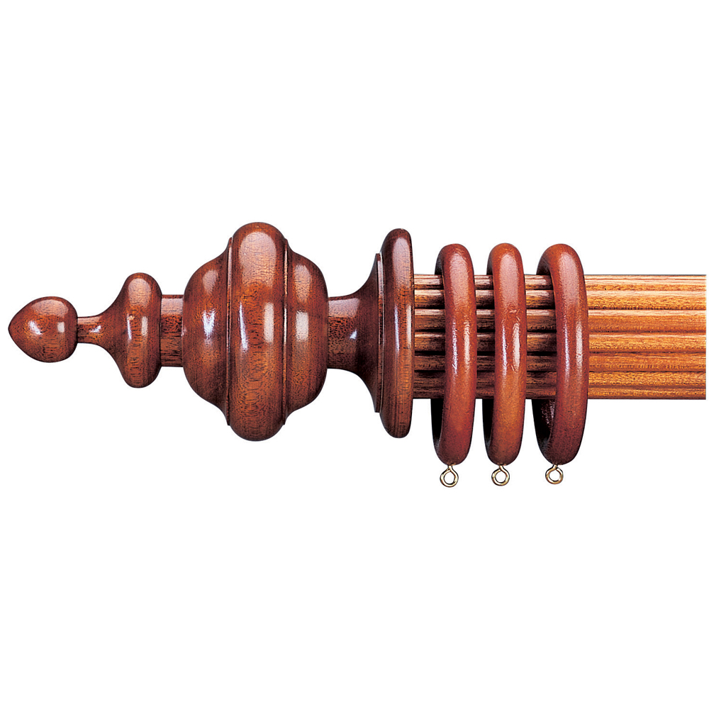 Single Rib and Ogee finial on reeded curtain pole