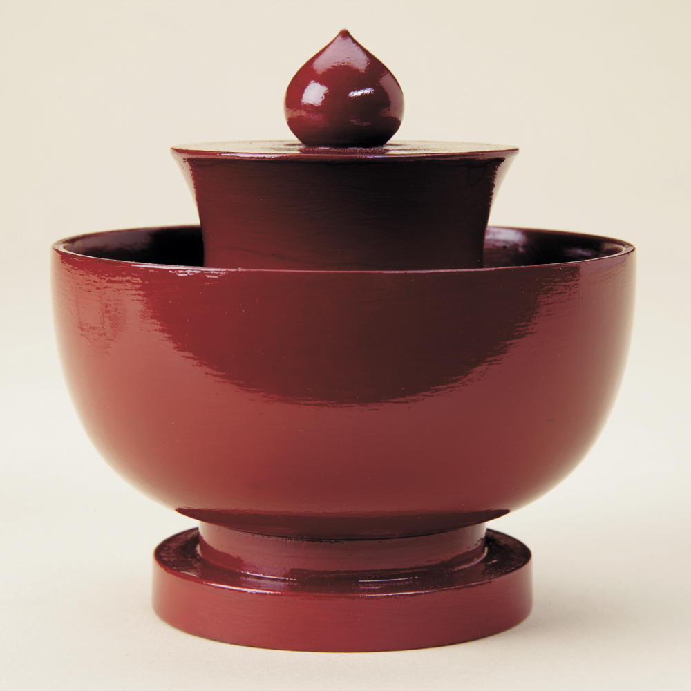 Mandarin finial, red lacquer