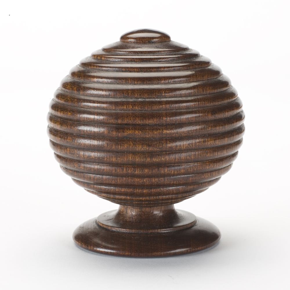 Ribbed Ball finial, mahogany